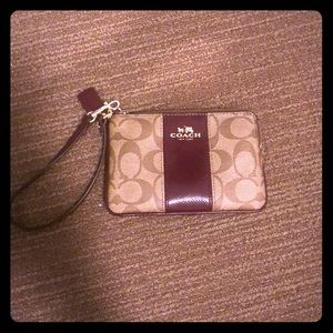 Burgundy and Tan Coach Wristlet